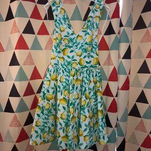 Lemon pattern sun dress